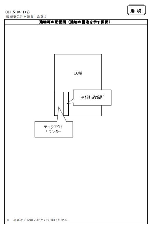 料飲店等期限付酒類小売業免許申請書(次葉1・2)の記入例